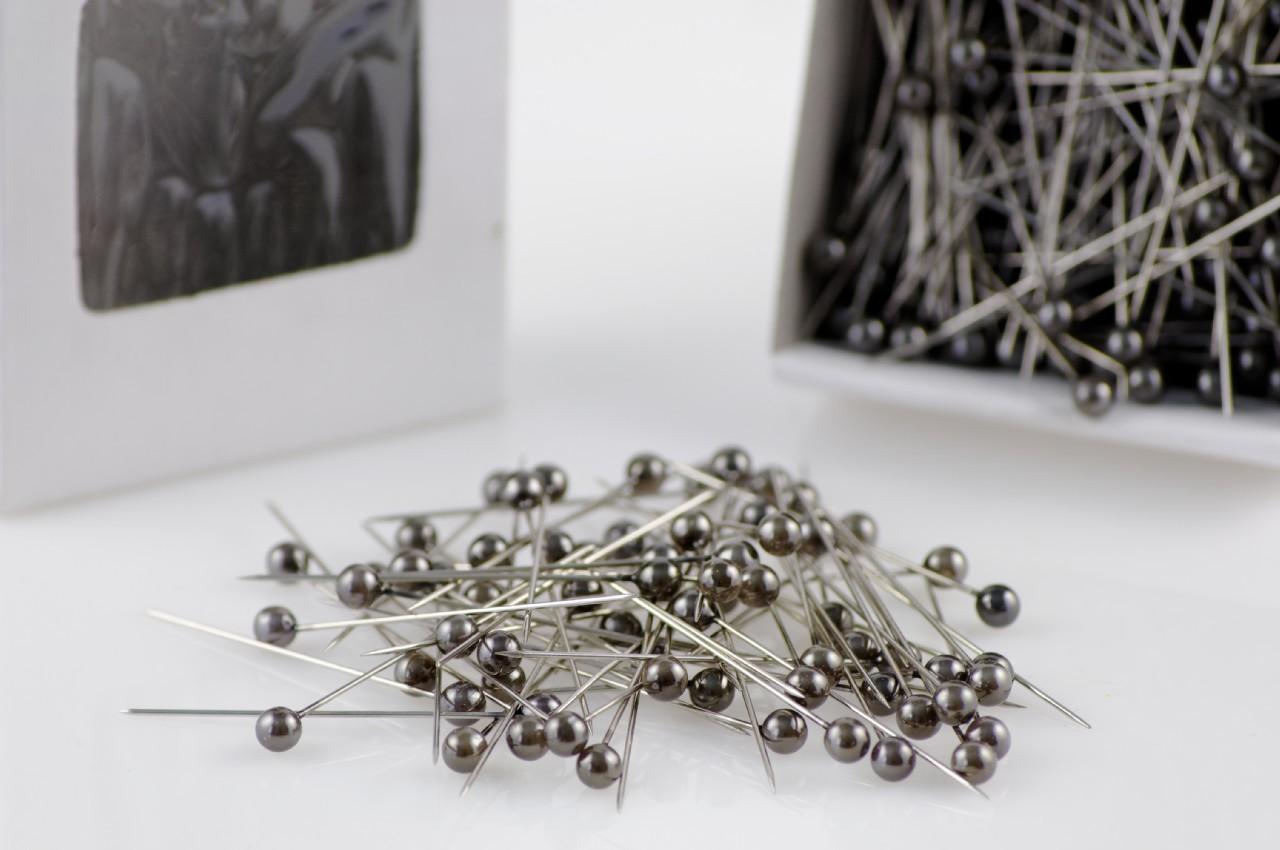 Ace mici cu perle culoare argintiu inchis