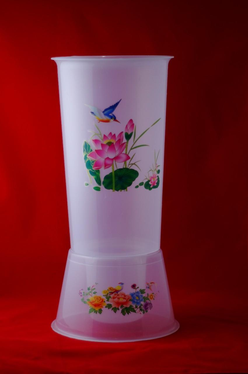 Vaza din plastic transparenta - Motiv cu flori si pasare