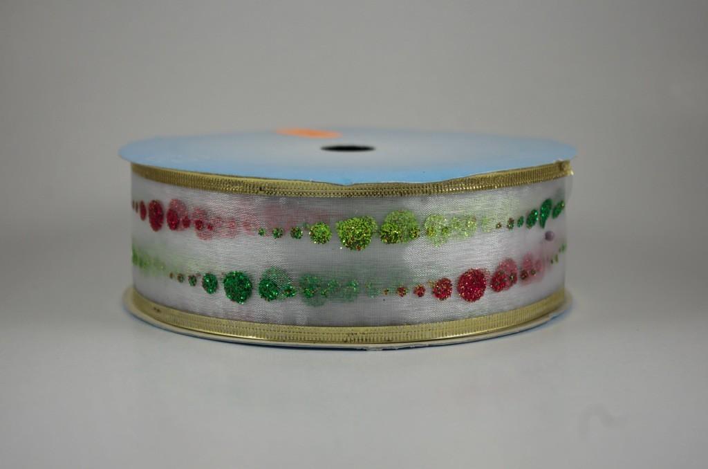 Panglica organza cu model imprimat, latime 4 cm - P0081