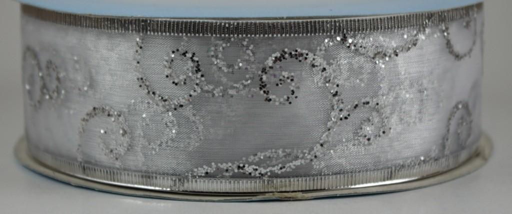 Panglica organza cu model imprimat, latime 4 cm - P0088