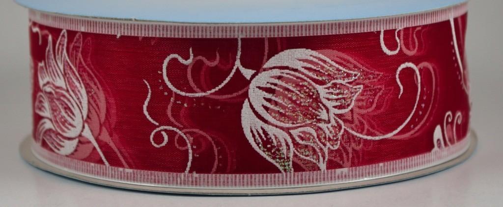 Panglica organza cu model imprimat, latime 4 cm - P0090